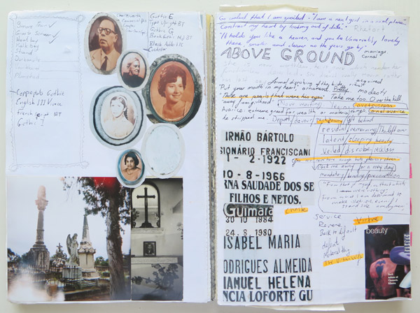 A detail from my visual diary of that time shows planning notes and research along with inspirational images from graveyards I shot in Mozambique in 2004.