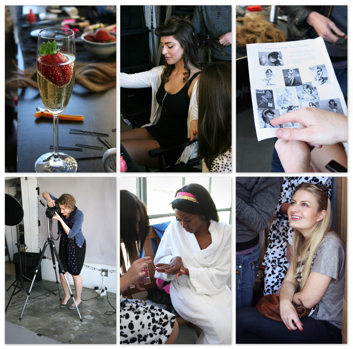 Bubbles, hair, makeup, refernces, shooting, nails and friends popping in (thats Yolandi M. top middle,  Mpho bottom middle and Leigh Van Den Berg bottom right)