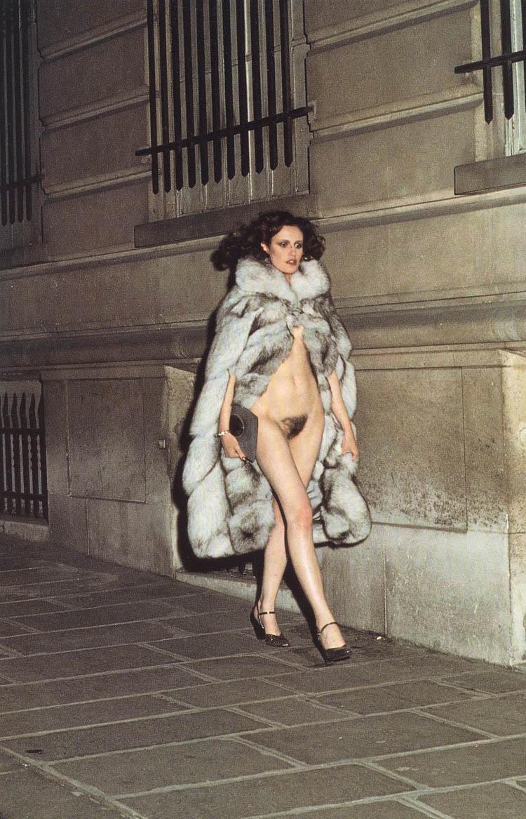 Helmut Newton Woman walking in fur